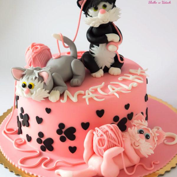 U145 - tort urodzinowy, na urodziny, dla dzieci, artystyczny, koty