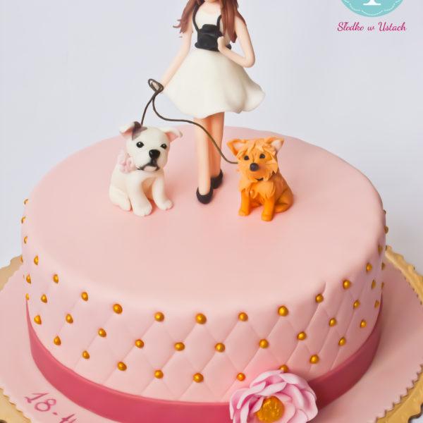 U147 - tort urodzinowy, na urodziny, 18, osiemnastka, artystyczny, psiaki
