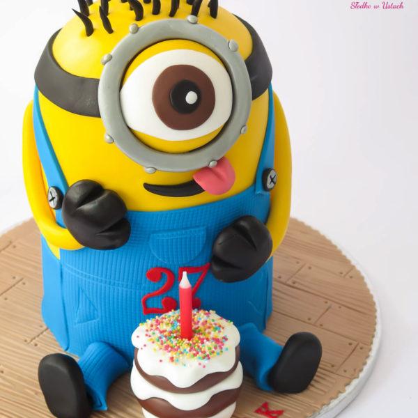 U154 - tort urodzinowy, na urodziny, dla dzieci, artystyczny, minionki, konstancin jeziorna, warszawa