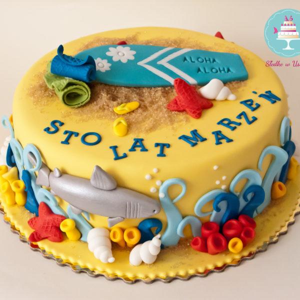 U156 - tort urodzinowy, na urodziny, artystyczny, hobby, pasja , deska, surfing, morze, warszawa
