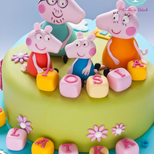 U158 - tort urodzinowy, na urodziny, dla dzieci, artystyczny, świnka peppa, warszawa
