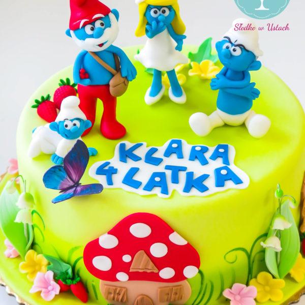 U161 - tort urodzinowy, na urodziny, dla dzieci, artystyczny, smerfy, warszawa