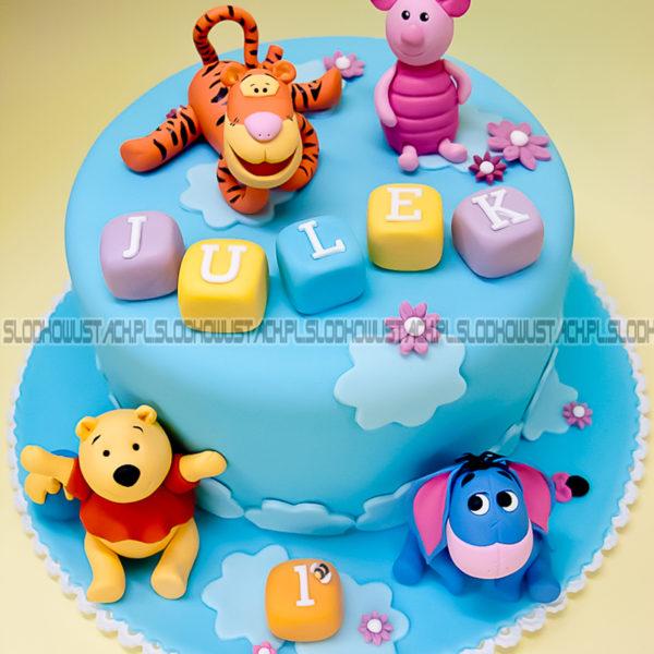 U166 - tort urodzinowy, na urodziny, dla dzieci, roczek, pierwsze urodziny, artystyczny, kubuś puchatek, warszawa