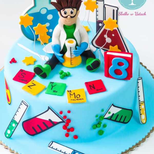 U176 - tort urodzinowy, na urodziny, dla dzieci, artystyczny, mały naukowiec, warszawa