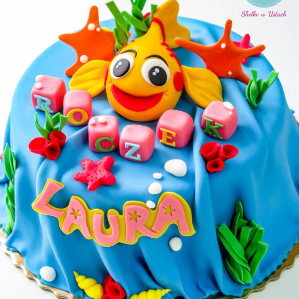 U177 - tort urodzinowy, na urodziny, dla dzieci, artystyczny, rybka, mini mini, warszawa
