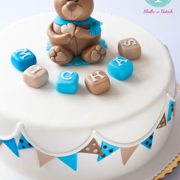U180 - tort urodzinowy, na urodziny, dla dzieci, artystyczny, roczek, pierwsze urodziny, z misiem, warszawa, z dostawą,