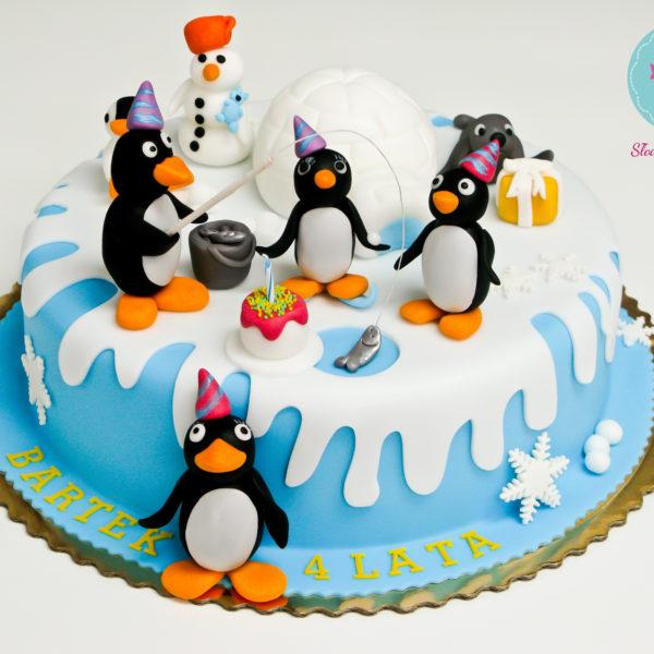 U181 - tort urodzinowy, na urodziny, dla dzieci, artystyczny, pingwin pingu, warszawa