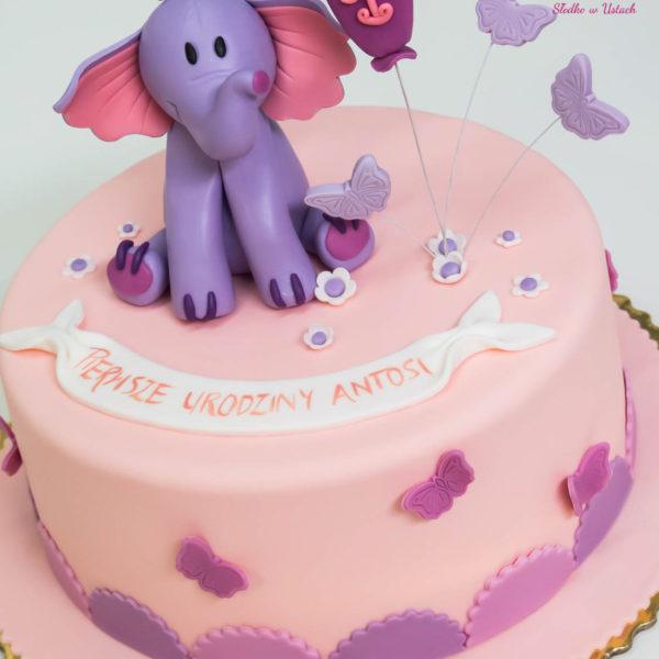 U183 - tort urodzinowy, na urodziny, dla dzieci, artystyczny, roczek, pierwsze urodziny, słonik, warszawa, z dostawą,