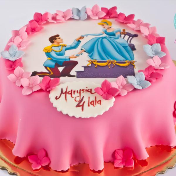 U184 - tort urodzinowy, na urodziny, dla dzieci, artystyczny, urodziny, kopciuszek, warszawa, z dostawą,
