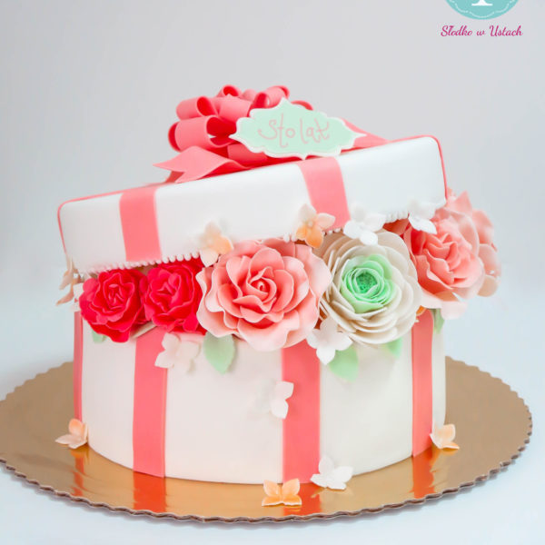 U185 - tort urodzinowy, na urodziny, pudełko, kwiaty, kokardka, z kwiatami, artystyczny, warszawa, z dostawą,