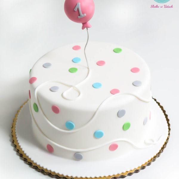 U188 - tort urodzinowy, na urodziny, dla dzieci, artystyczny, roczek, pierwsze urodziny, balonik, warszawa, z dostawą,