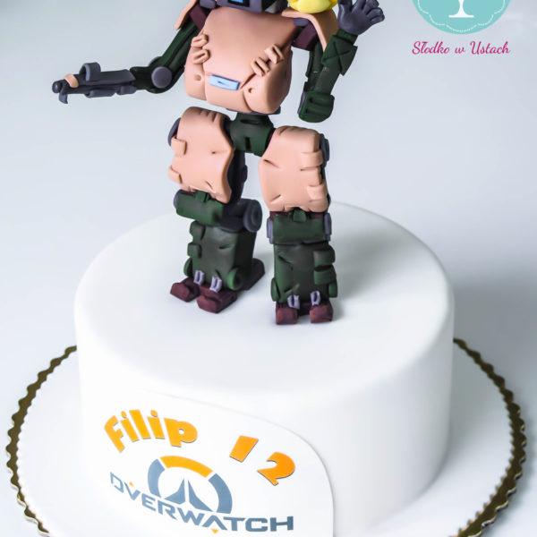U190 - tort urodzinowy, na urodziny, dla dzieci, artystyczny, overwatch, warszawa