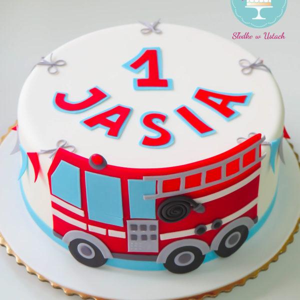 U193 - tort urodzinowy, na urodziny, dla dzieci, artystyczny, roczek, pierwsze urodziny, straż pożarna, wóz strażacki, warszawa,