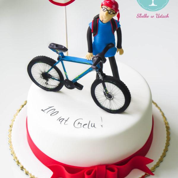 U195 - tort urodzinowy, na urodziny, rower, pasja, artystyczny, cyklista
