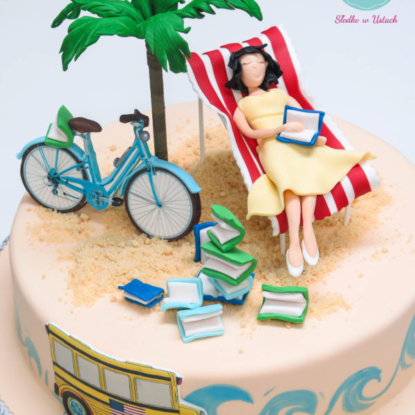 U200 - tort urodzinowy, na urodziny, artystyczny, rower, pasja, morze, odpoczynek, książki, piasek, leżak