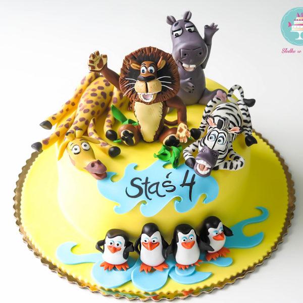 U201 - tort urodzinowy, na urodziny, dla dzieci, artystyczny, madagaskar, warszawa,