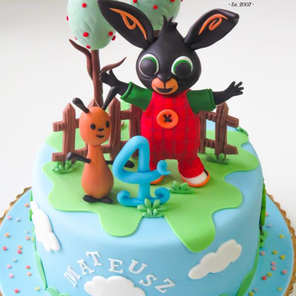 U208 - tort urodzinowy, na urodziny, dla dzieci, artystyczny, króliczek, bing, warszawa