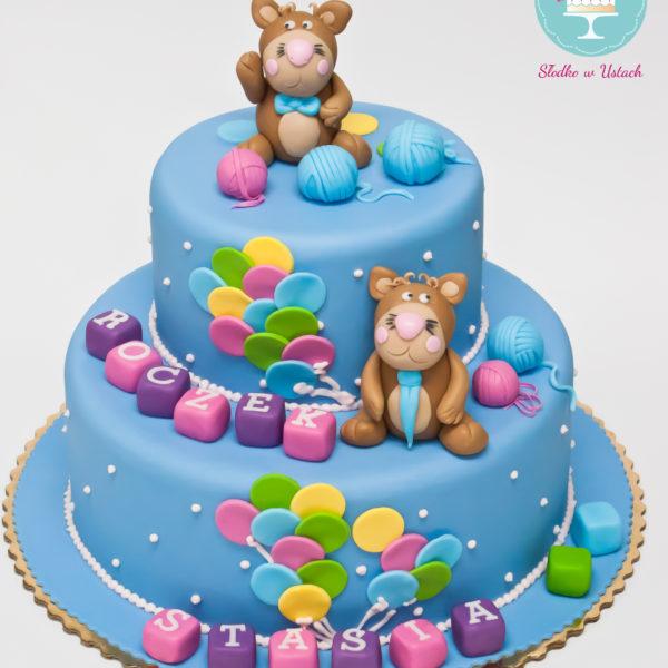 U210 - tort urodzinowy, na urodziny, dla chłopca, artystyczny, roczek, pierwsze urodziny, warszawa, z dostawą, piętrowy