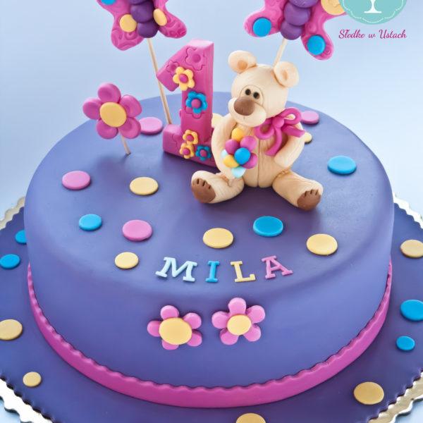 U212 - tort urodzinowy, na urodziny, dla dzieci, artystyczny, roczek, pierwsze urodziny, z misiem, warszawa, z dostawą,