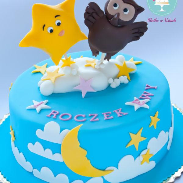 U215 - tort urodzinowy, na urodziny, dla dzieci, artystyczny, roczek, pierwsze urodziny, twinkle little star, sówka, warszawa, z dostawą,