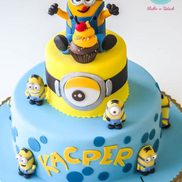 U216 - tort urodzinowy, na urodziny, dla dzieci, artystyczny, minionki, konstancin jeziorna, warszawa