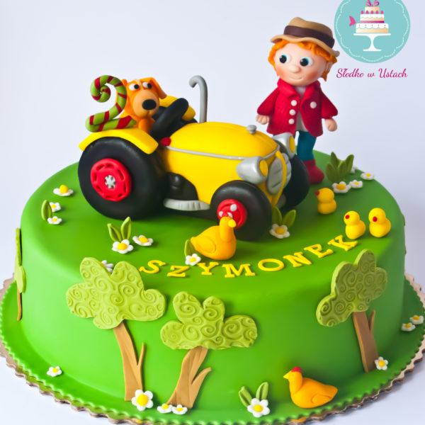 U218 - tort urodzinowy, na urodziny, dla dzieci, artystyczny, traktor,