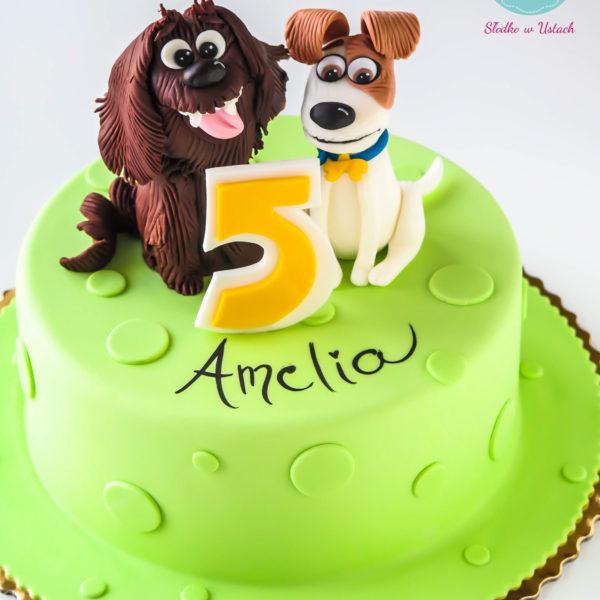 U219 - tort urodzinowy, na urodziny, dla dzieci, artystyczny, sekretne życie zwierzaków domowych, warszawa