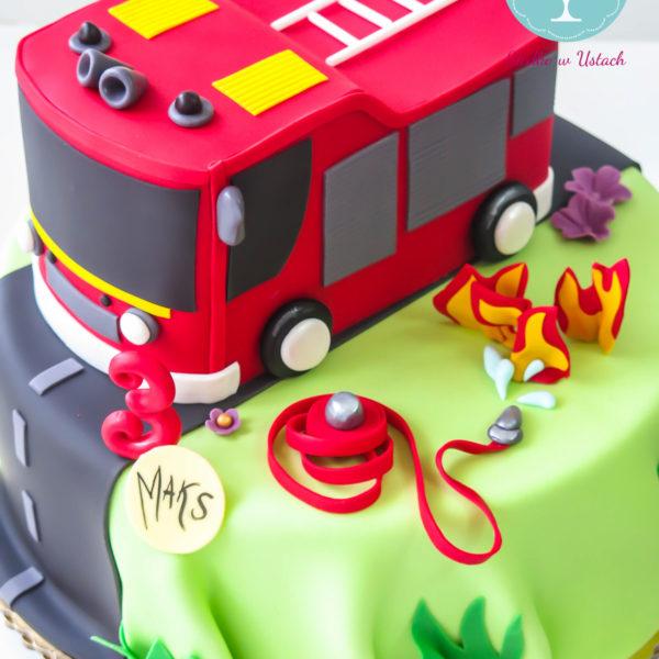U224 - tort urodzinowy, na urodziny, dla dzieci, artystyczny, straż pożarna, wóz strażacki, warszawa,
