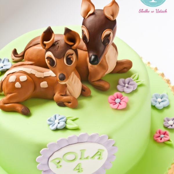 U225 - tort urodzinowy, na urodziny, dla dzieci, artystyczny, jelonek ,bambi, warszawa