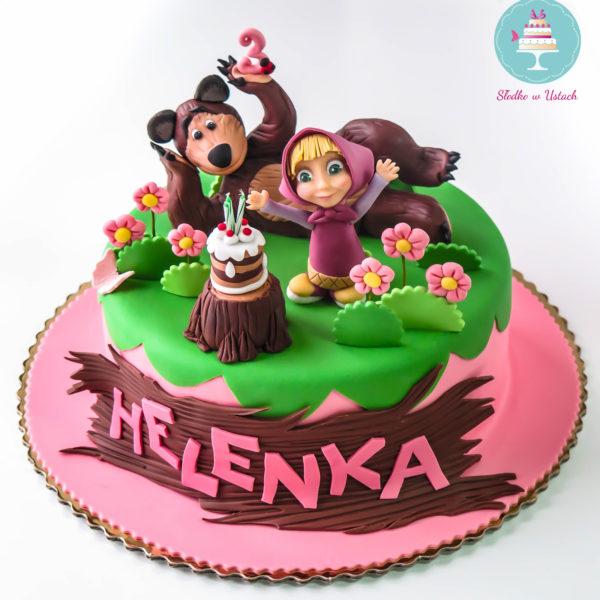 U228 - tort urodzinowy, na urodziny, dla dzieci, artystyczny, masza, i niedźwiedź, warszawa