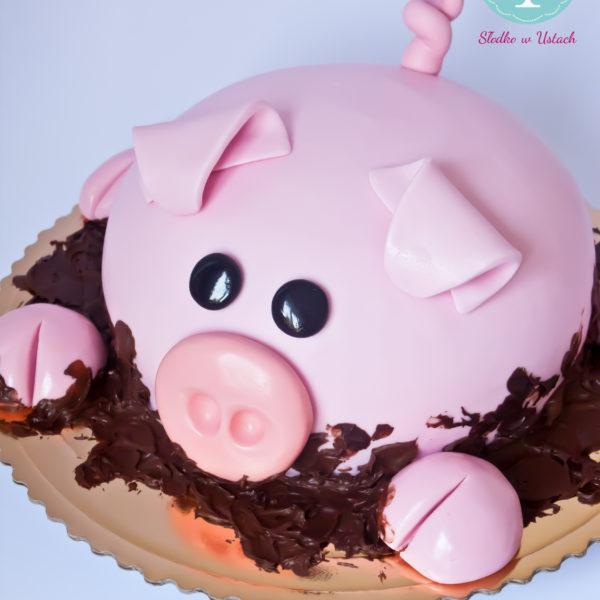 U230 - tort urodzinowy, na urodziny, dla dzieci, artystyczny, świnka, warszawa, z dostawą,