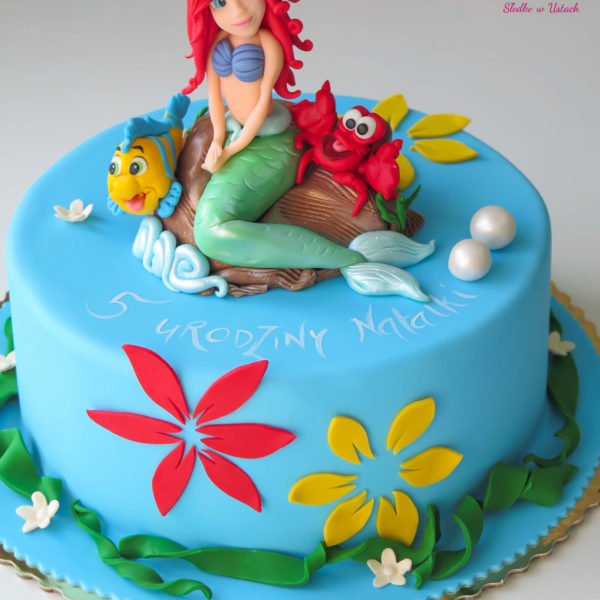U236 - tort urodzinowy, na urodziny, dla dzieci, artystyczny, mała syrenka, arielka, konstancin jeziorna, warszawa, piaseczno