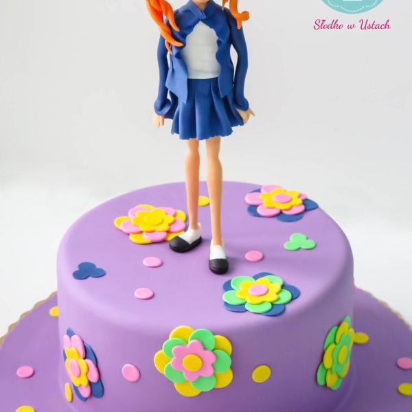 U239 - tort urodzinowy, na urodziny, dla dzieci, artystyczny, dziewczynka z kwiatkami, warszawa, z dostawą,