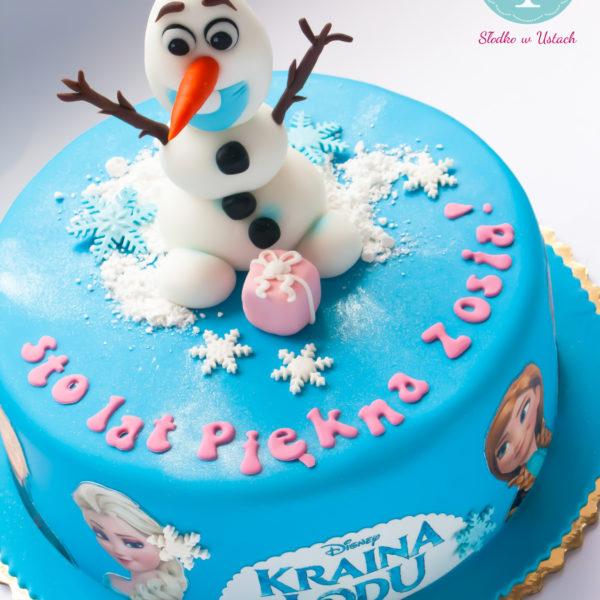 U240 - tort urodzinowy, na urodziny, dla dzieci, artystyczny, kraina lodu, bałwanek, olaf, konstancin jeziorna, z dostawą,