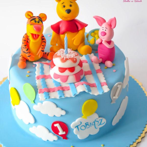 U241 - tort urodzinowy, na urodziny, dla dzieci, roczek, pierwsze urodziny, artystyczny, kubuś puchatek, warszawa
