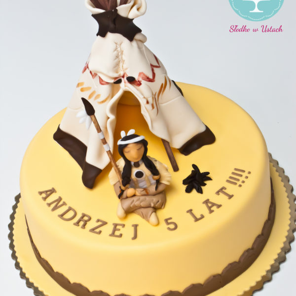 U245 - tort urodzinowy, na urodziny, dla dzieci, artystyczny, namiot, tipi, indanin, warszawa