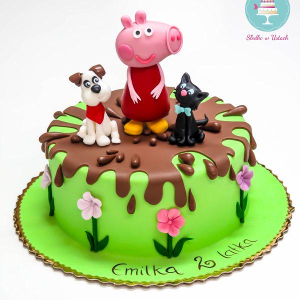 U248 - tort urodzinowy, na urodziny, dla dzieci, artystyczny, świnka peppa, warszawa