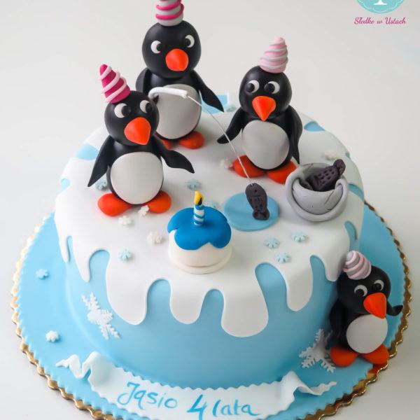 U253 - tort urodzinowy, na urodziny, dla dzieci, artystyczny, pingwin pingu, warszawa