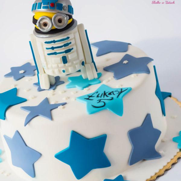 U254 - tort urodzinowy, na urodziny, dla dzieci, artystyczny, star wars, gwiezdne wojny, r2d2, minionki, warszawa, z dostawą,