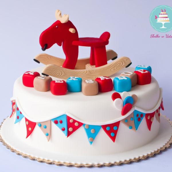 U256 - tort urodzinowy, na urodziny, dla dzieci, roczek, pierwsze urodziny, artystyczny, konik, bujany, warszawa