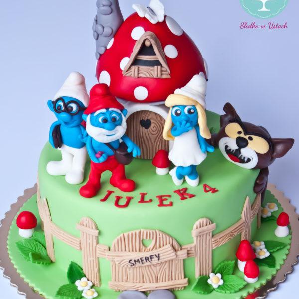 U257 - tort urodzinowy, na urodziny, dla dzieci, artystyczny, smerfy, warszawa