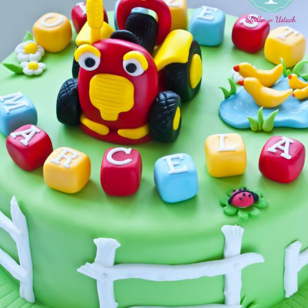 U258 - tort urodzinowy, na urodziny, dla dzieci, artystyczny, traktor,tom