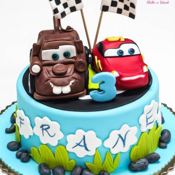 U262 - tort urodzinowy, na urodziny, dla dzieci, artystyczny, auta, cars, zygzak, mcqueen, złomek, warszawa