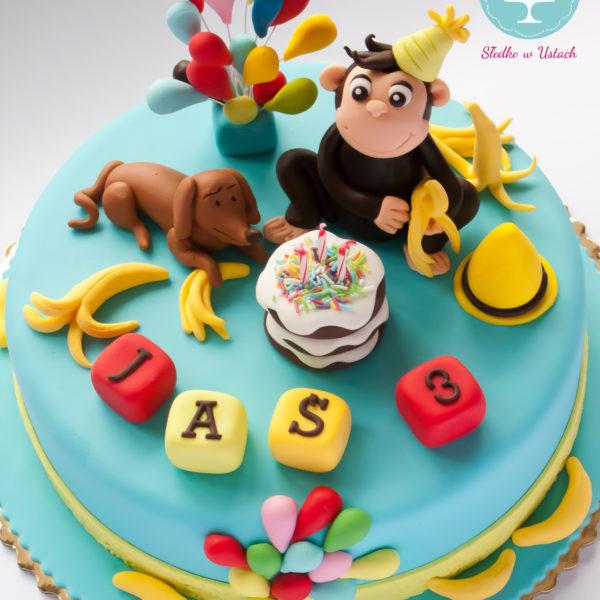 U263 - tort urodzinowy, na urodziny, dla dzieci, artystyczny, ciekawski george