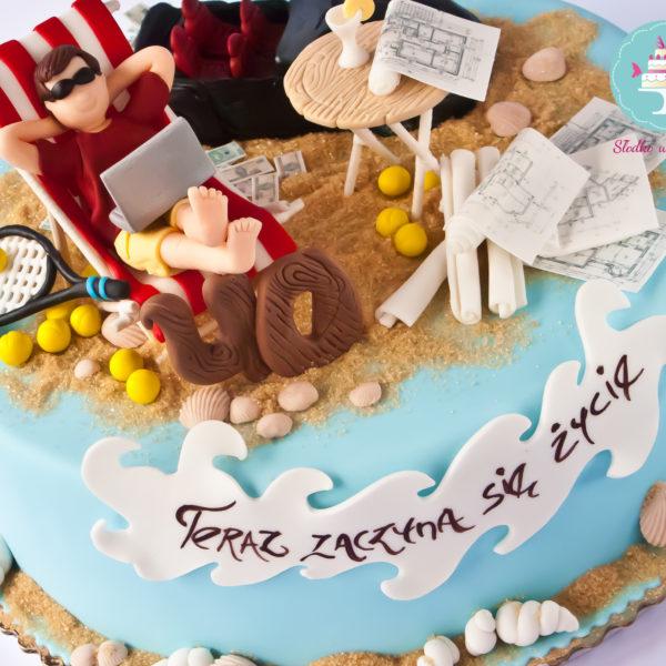 U264 - tort urodzinowy, na urodziny, artystyczny, pasja, morze, odpoczynek, piasek, leżak