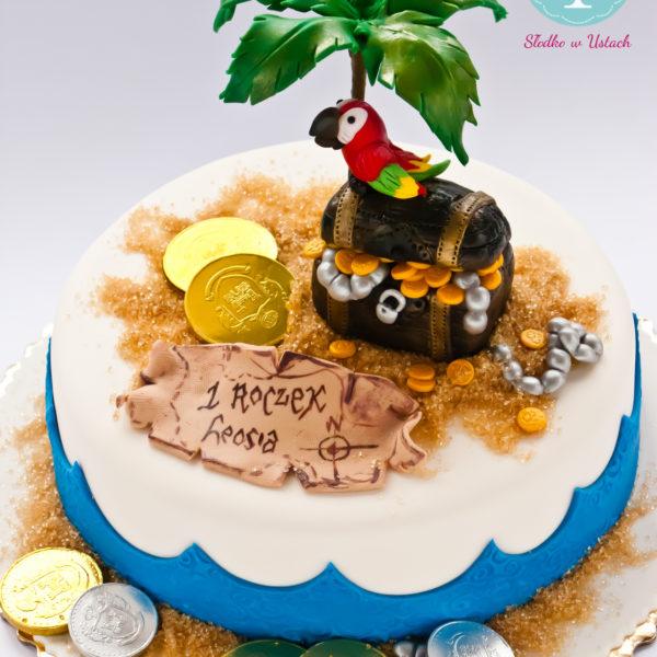 U267 - tort urodzinowy, na urodziny, dla dzieci, artystyczny, wyspa skarbów, piraci
