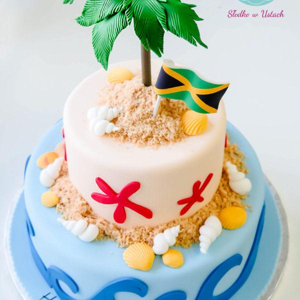 U269 - tort urodzinowy, na urodziny, dla dzieci, artystyczny, wyspa bezludna, jamajka