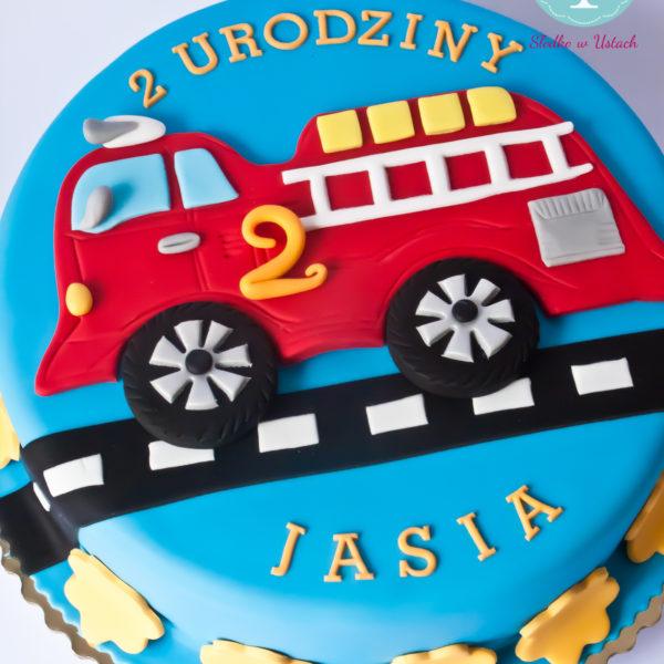 U270 - tort urodzinowy, na urodziny, dla dzieci, artystyczny, straż pożarna, wóz strażacki, warszawa,