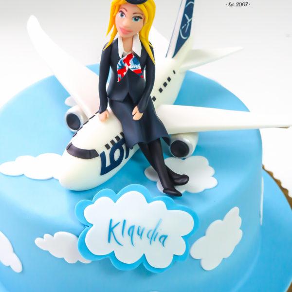 U271 - tort urodzinowy, na urodziny, samolot, stewardessa, artystyczny, warszawa, z dostawą,