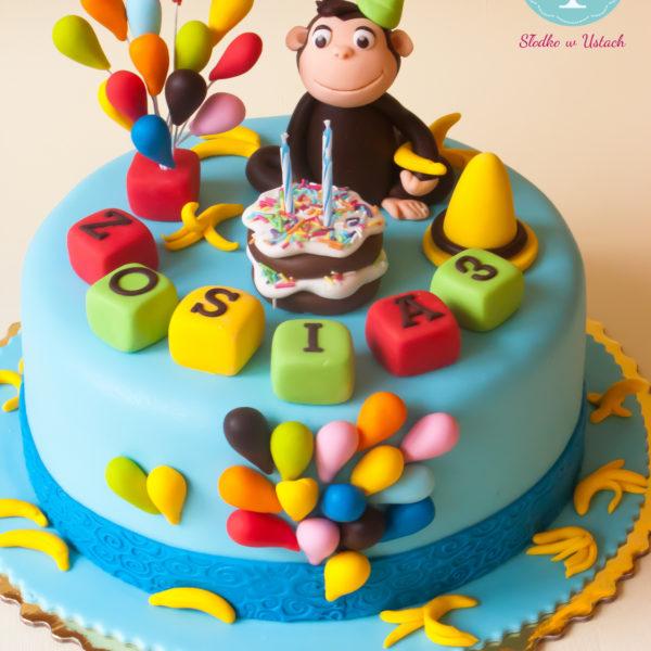 U272 - tort urodzinowy, na urodziny, dla dzieci, artystyczny, ciekawski george